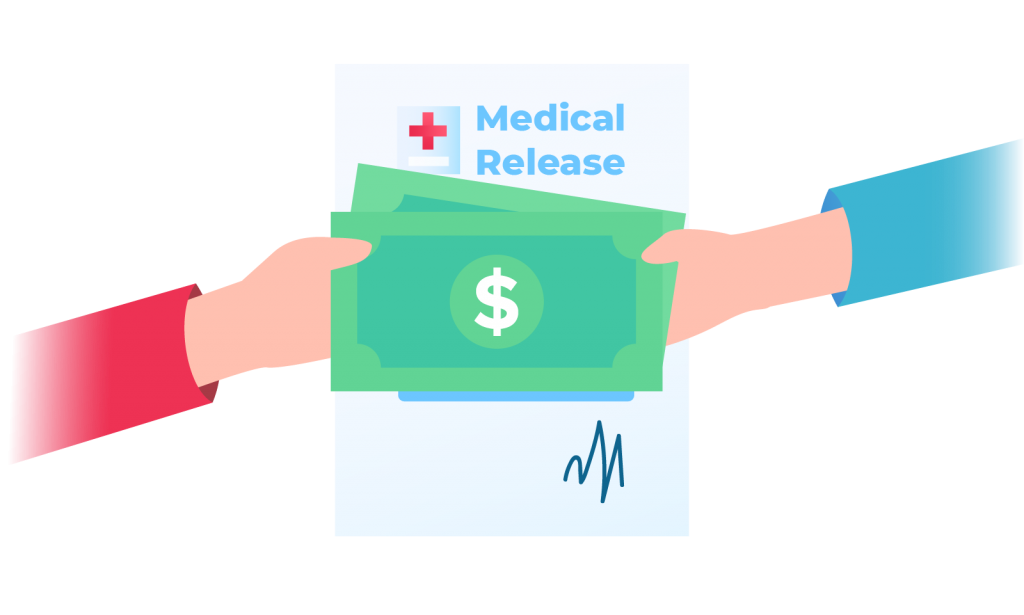 Two Hands Holding Money with Medical Release Form