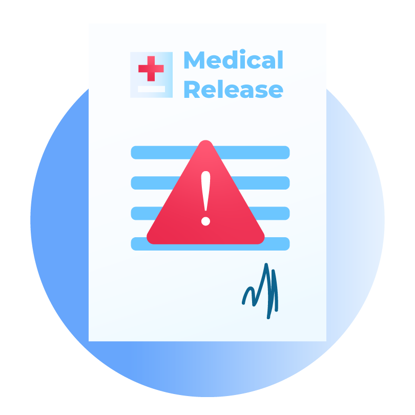 Medical Release Form with Caution Sign