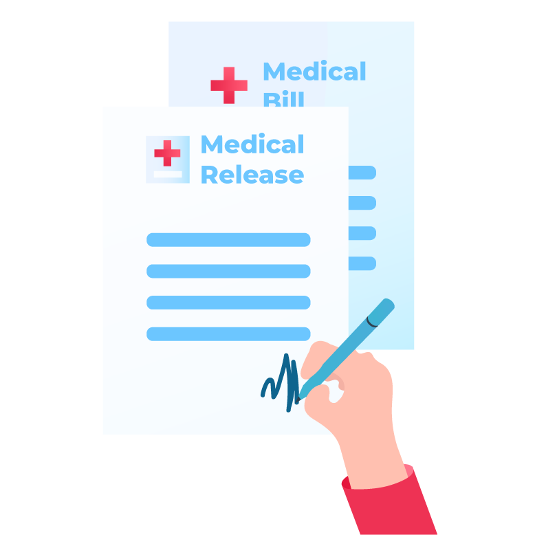 Medical Release Form Being Signed by Injured Person